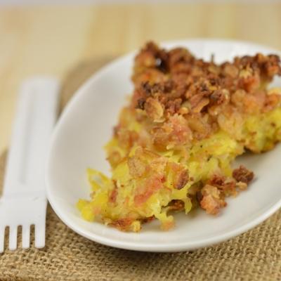 Crumble de légumes et jambon à l'avoine, pommes de terre, navet, flocons d'avoine