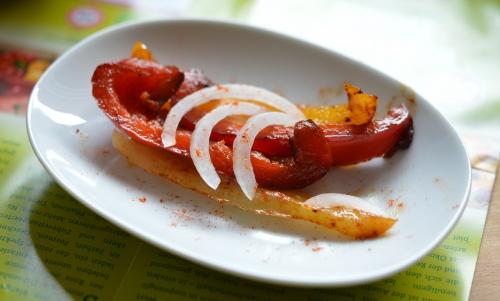 Poivrons sautés au sumac, poivrons rouges, poivrons jaunes, sumac