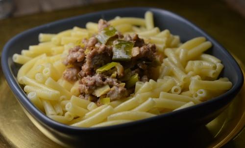 Gratin de macaroni au ragù de poireaux, macaroni, poireaux, ragù