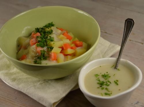 Blanquette de légumes choisis, pommes de terre, carottes, navets, panais, sauce blanche