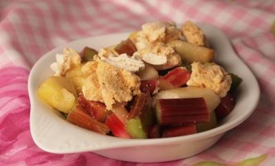 tarte meringuée aux 3 fruits, meringue, rhubarbe, pommes, poires