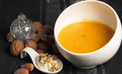 velouté topinambours et carottes, crème de mascarpone