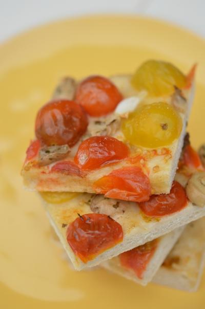 Focaccia Bernadino, foccacia, tomates, champignons à l'huile