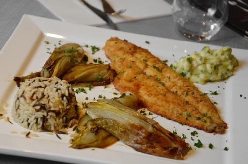 Filets de carrelet à la flamande, 3 riz et endives chez Frédéric Dehongher et Cédric Heintje, Les deux gourmets à Cysoing, filets de carrelets, les deux gourmets, Cysoing