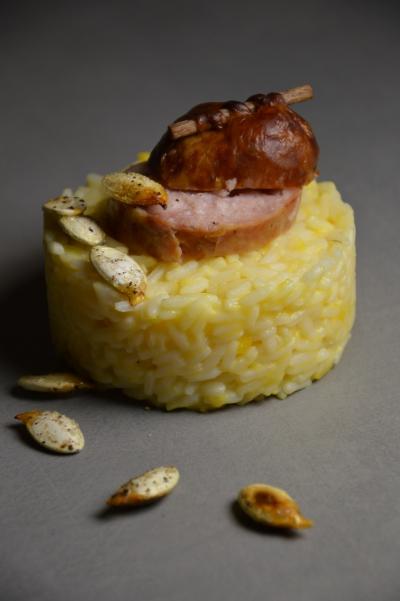 Riz crémeux au potiron aux saucisses de Morteau, riz, potiron, saucisse de Morteau