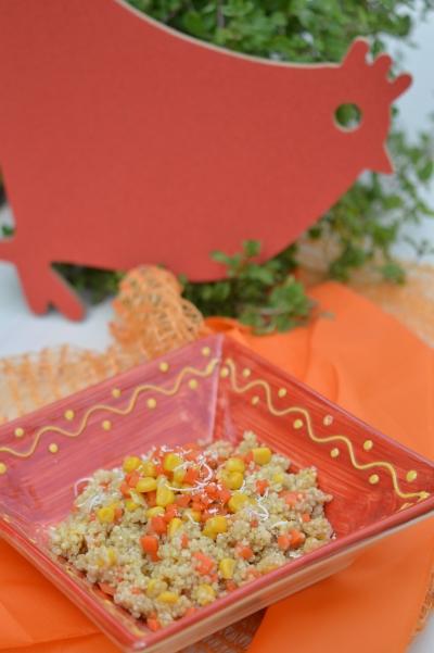 Quinotto carottes et maïs, quinoa, carottes, maïs