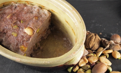 terrine de sanglier aux fruits secs, terrine, sanglier, fruits secs, pistaches, amandes
