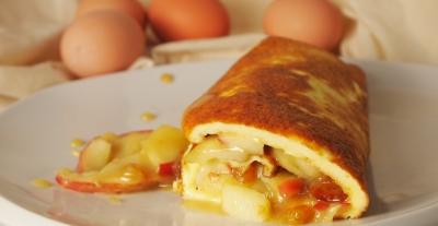 omelette roulée aux pommes, oeufs, Frédéric Dessery, Wasnes au bac, oeufs bio, Version Femina, Femina, la Cocotte, www.lacocotte.nordblogs.com