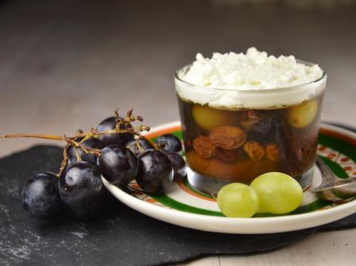 Moscaccino raisins et fromage bleu, moscaccino, gelée, raisins, fromage bleu