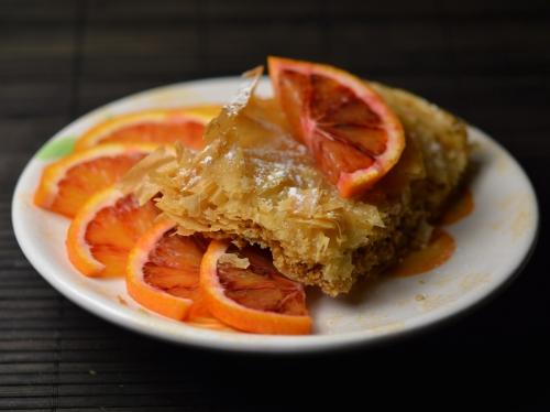 Gâteau filo fruits secs et orange, feuilles filo, oranges, amandes, noisettes