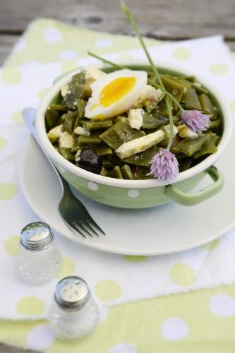 Salade de haricots plats, haricots plats, herbes, oeufs, la Cocotte, la voix du nord