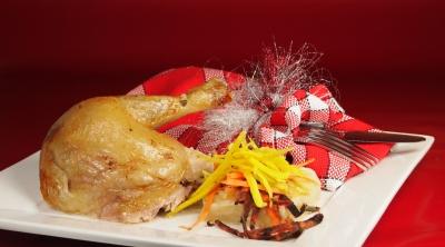 poularde rôtie, trio de carottes et sauce hongroise, Jacques Deroo, les chapons de Saulzoir, Saulzoir, poularde, Femina, la Cocotte
