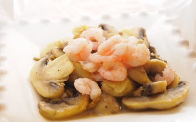 salade 4C, crevettes, champignons, curry