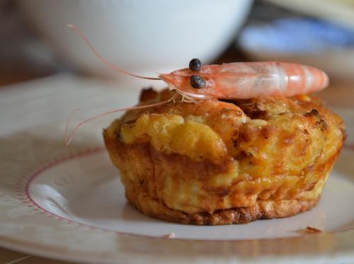Muffins de crevettes, crevettes, muffins