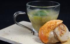 Saint- Jacques, coquilles, tisane, poireaux, pommes de terre