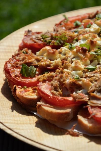 Tartine tomate et thon, pain, tomate, thon