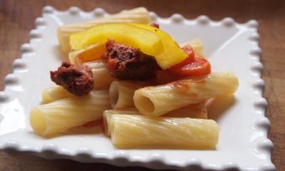 pâtes al maghrib', pâtes, merguez, poivron