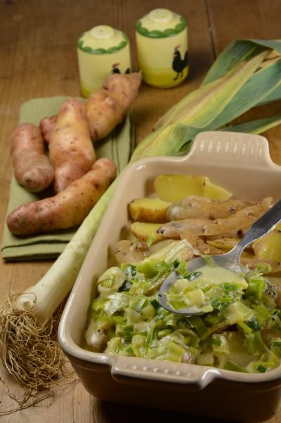 Gratin Corne de Gatte au bleu, gratin, corne de gatte, pommes de terre, poireaux, bleu d'Auvergne