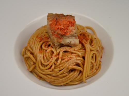 Spaghettis et porc sauce soja, spaghettis, sauce soja, porc