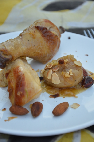 Poulet oignons aux fruits secs, poulet, oignons, fruits secs, figues, amandes