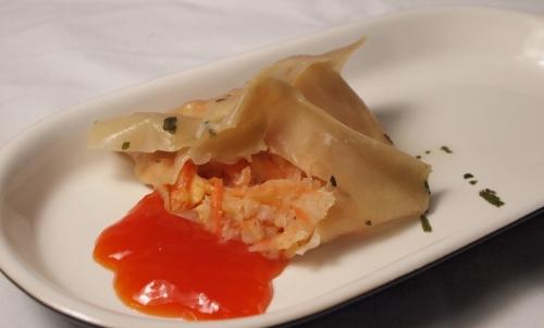 wontons aux crevettes, wontons, crevettes, sauce aigre-douce