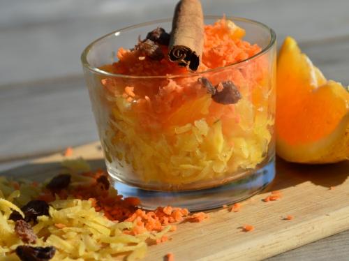 Verrines à l'orange, oranges, carottes, eau de fleur d'oranger