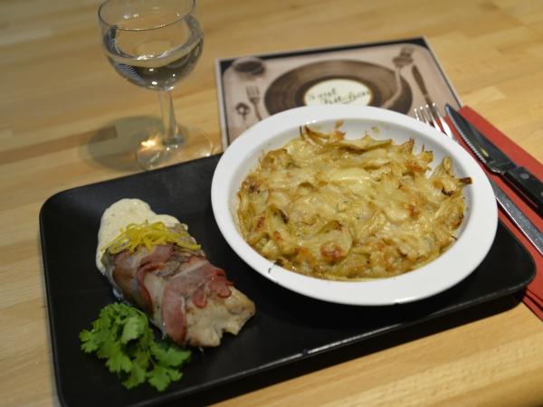 Gratin fenouil- oignon et colin lardé d'Emmanuel Herbaut, chef du Soul Kitchen à Saint-Amand les eaux, le Soul Kitchen, Emmanuel Herbaut, le chef et la cocotte, la cocotte, la voix du nord
