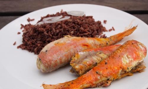 rougets au safran et riz rouge, rougets, safran, riz rouge, riz de Camargue