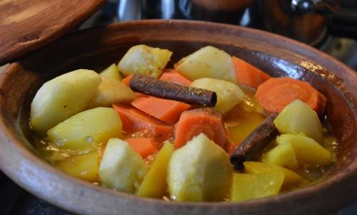 Carottes et pommes de terre safranées, carottes, pommes de terre, safran