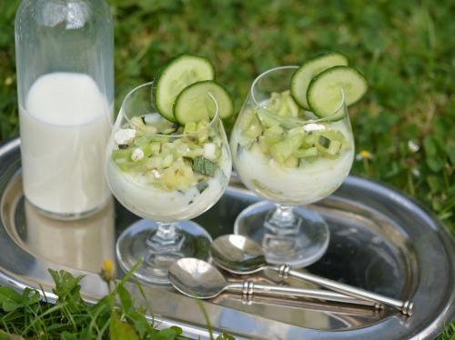 Courgettes et concombres au lait, courgette, concombre, lait fermenté