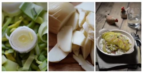 Pommes de terre sauce poireau-basilic, pommes de terre, poireaux, basilic, La Cocotte