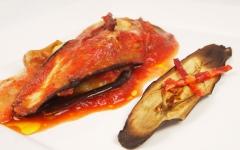aubergine, tomate, mozzarella, chorizo