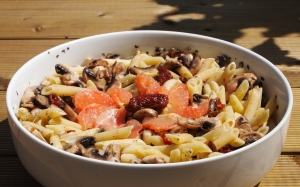 salade, penne, champignons
