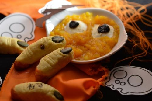 Doigts de sorcière au parmesan et bouillie de squelette au potiron, parmesan, potiron, Halloween