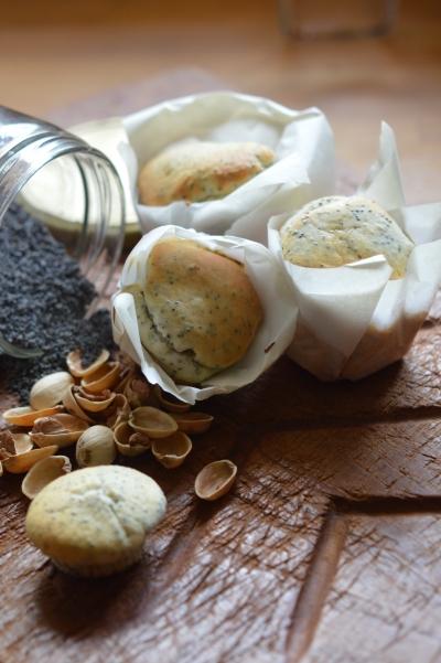 Muffins pavot-pistaches, muffins, pavot, pistaches, lait battu, babeurre