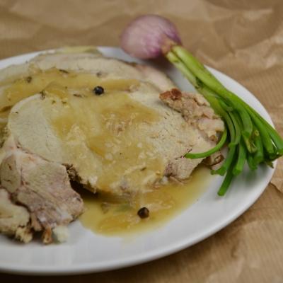 Rôti moutarde et échalotes, rôti de porc, moutarde, échalotes