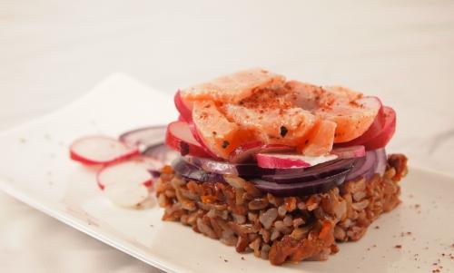 riz rouge intégral au saumon, riz rouge intégral, saumon