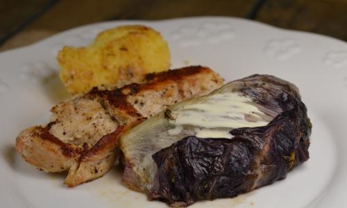 Poulet au radicchio, poulet radicchio, Trvésie, salade Trévise