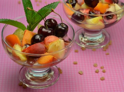 Bouillon de fruits d'été, pêches, abricots, thé vert