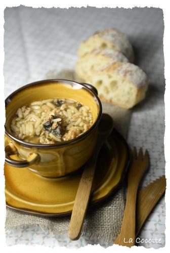 La Cocotte, soupe soja-saucisse, soupe