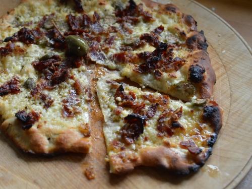 Pizza au fromage frais du Pévèle, fromage frais du Pévèle