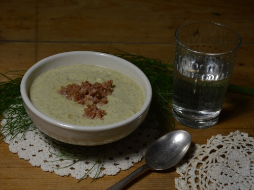 Crème brocoli et citron confit, brocolis, brocoli, citron confit, lard en poudre, poudre de lard