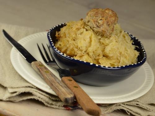 Choucroute-boulettes, choucroute, boulettes