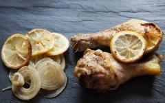 poulet, oignons, citron