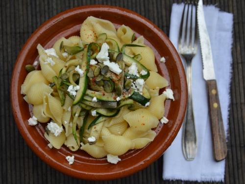 Salade nouilles-courgettes, nouilles, courgettes