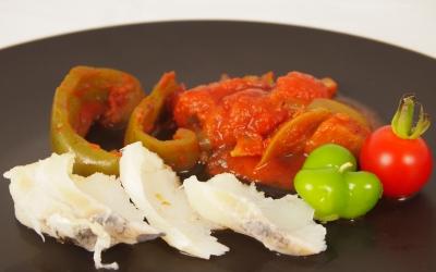 cabillaud, poivron, tomates, aubergines