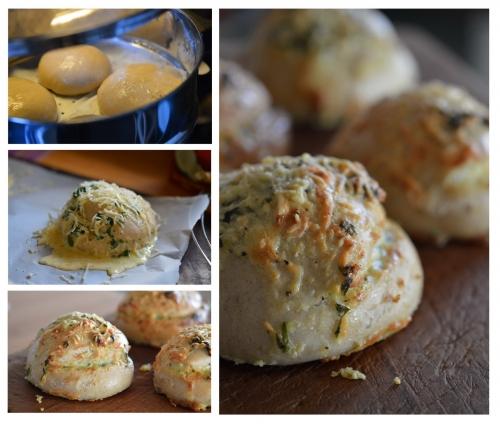 Petits pains bis à la crème d'ail, pain bis, pain-vapeur, crème d'ail, ail, La Cocotte