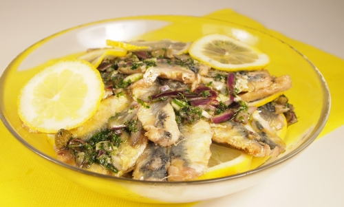 sardines marinées au citron, sardines, citron