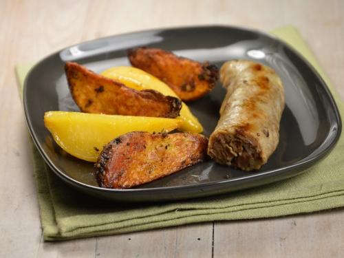 Andouillettes aux rutabagas et pommes de terre au four, andouillettes, rutabagas, pommes de terre