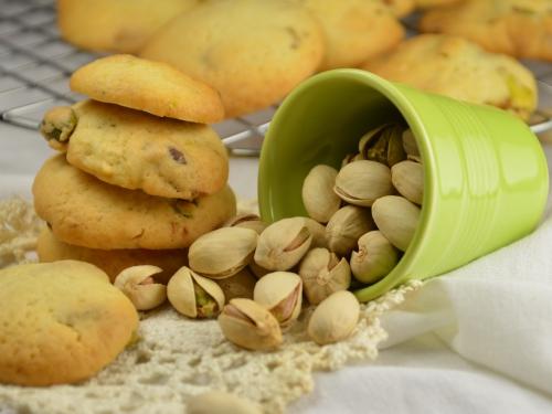 Ronds à la pistache, biscuits, pistache, chocolat blanc